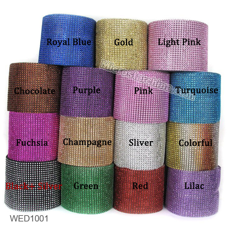 Gold Deco Mesh Trim Wedding Decorations Bling Diamond Mesh Wrap Cake Roll 1 yards Sparkle Party Rhinestone Crystal Ribbons(China (Mainland))