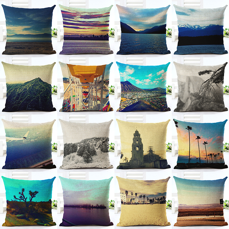 fashion european style colorful scenic dream linen decorative cushion cover pillow case for office chair bed - Bed Pillow Chair