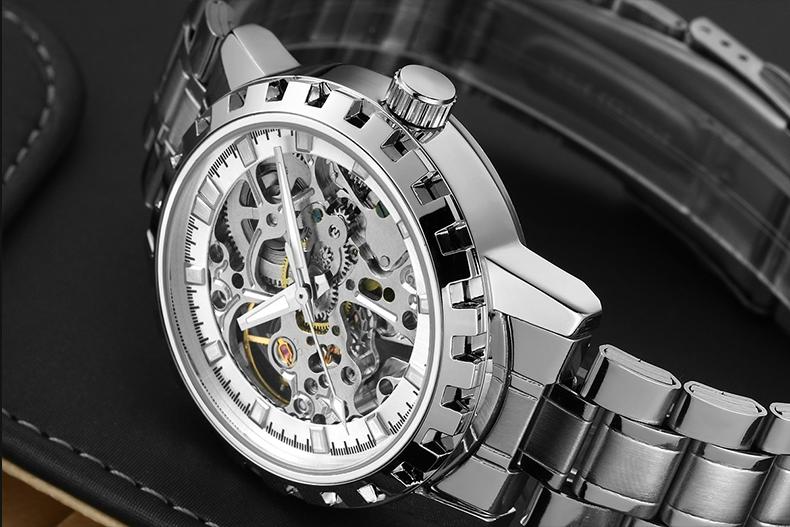 2016 марка Роскошные Спортивные мужские Автоматическая Каркасного Механически Военные Часы Мужчины Серый полный Стальной ленты Из Нержавеющей Стали Relogio
