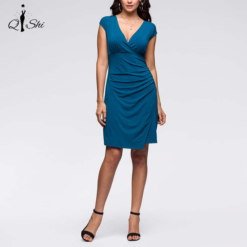 New Summer Women Dress Vintage Elegant Casual Dresses V-Neck Draped Slim Sexy Office Dress Plus Size Women Clothing(China (Mainland))