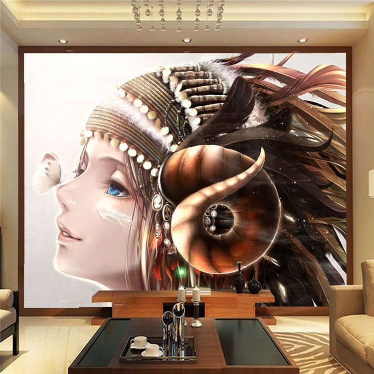 Anime-photo-wallpaper-Elegant-Girl-Butterfly-Wall-Mural