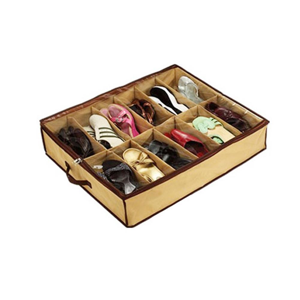 Home Decor Shoes Storage Case Shoe Finishing 12 Pairs Fabric Intake Organizer Holder Shoes Box BS(China (Mainland))