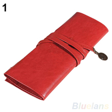 Vintage Retro Roll Leather Make up Cosmetic Pen Pencil Case Pouch Purse Bag 02PT 2ZAT
