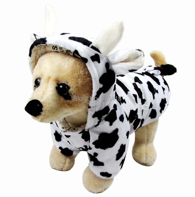 Free shipping Puppy Pet Supplies Cute Cow Dog Costume New Fashion Halloween Christmas Dog Winter Clothes(China (Mainland))