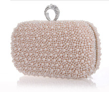 2014 Promotion Solid Bag Mini(<20cm) Interior Slot Pocket Hasp Women Hot Selling Pearl with Diamond Finger Cluth Evening Bag(China (Mainland))