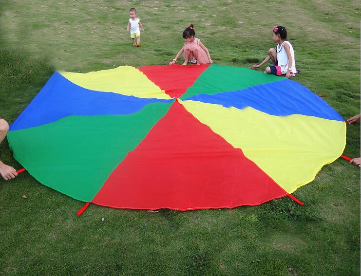 Kid Toy Jump-sack Ballute Play Parachute New Arrival 4M Outdoor Rainbow Umbrella Parachute Most Popular Child Sports(China (Mainland))
