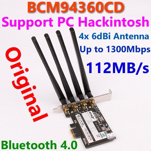 Broadcom BCM94360CD 802.11AC 1750Mbps WiFi Adapter PCi-E Gigabit Ethernet WiFi Dongle + Bluetooth v4.0 + 4* 6dBi Antenna for MAC(China (Mainland))