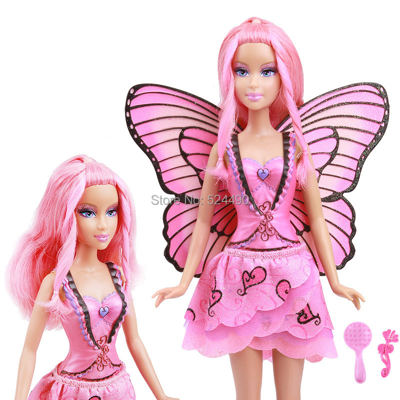 Limited Edition Original Pink Fairy Butterfly Doll / with Pink Wing Skirt Comb Outfit Accessories / For Barbie Doll Gift