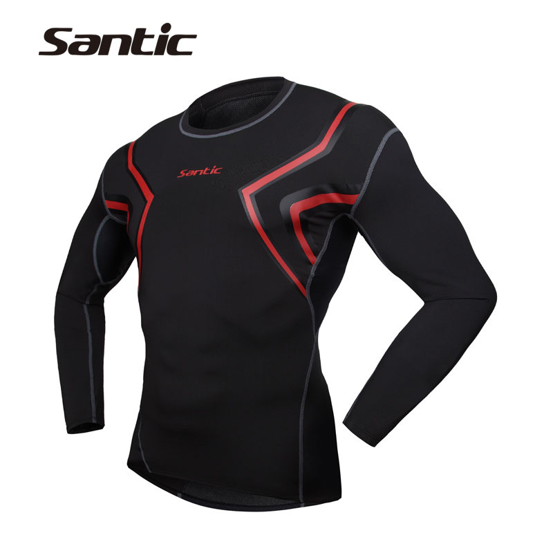 SANTIC Men's Running Gym Fitness Bodybuilding Long Sleeve Jersey Tops Breathable Outdoor Sports Compression Base Layer Clothing