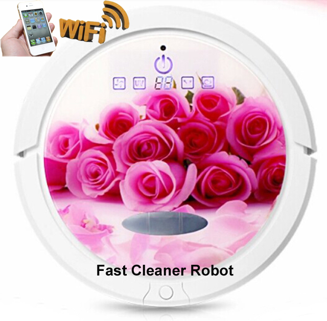 WIFI Smartphone APP Control Function Wireless Robot Vacuum Cleaner For Home with150ML Water Tank,Wet and Dry Mopping(China (Mainland))