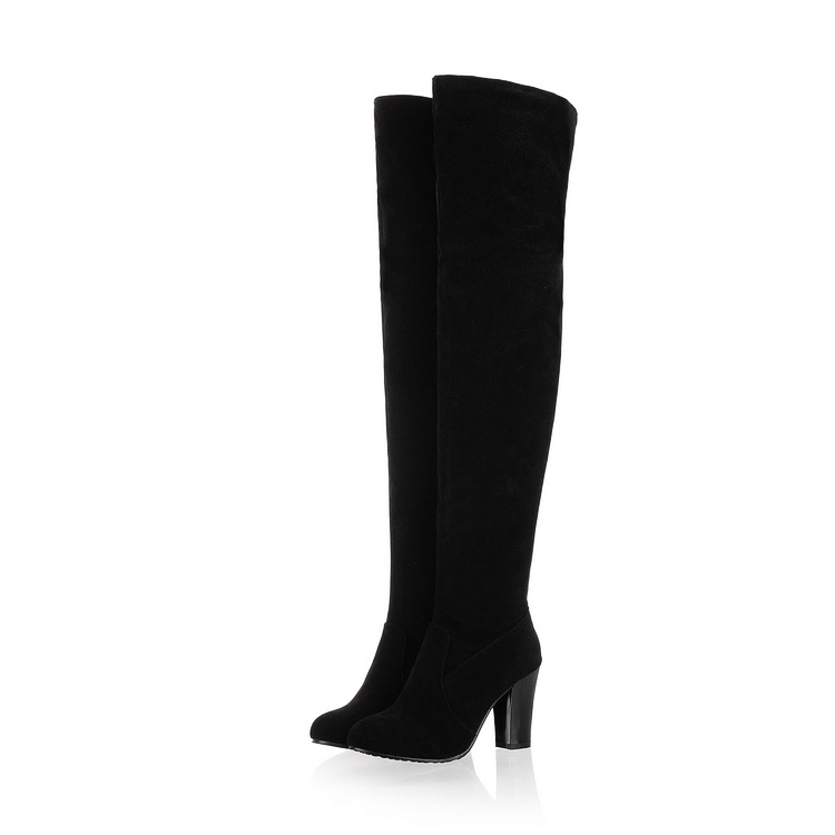 New Fashion 2015 Women Shoes Suede Sexy Over The Knee Boots High Heels Round Toe  Round Toe Less Platform Knight Long Boots
