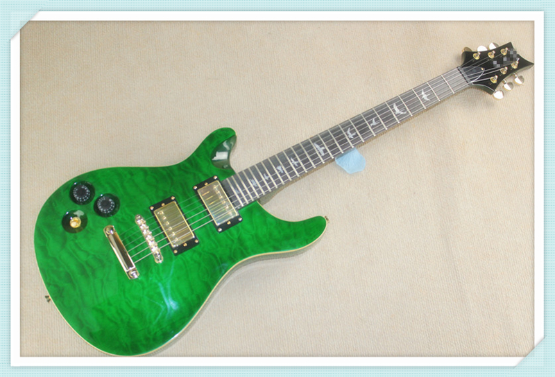 Custom 24 Shop Green Quilted Finish Left Handed PRS Electric Guitar China Custom Guitar Kit Available(China (Mainland))