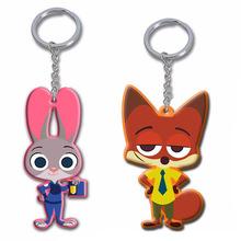 2Pcs/set New Cartoon Animal 1 Zootopia Figures the Rabbit Judy Hopps Pendant Keychain Ring Toys Set