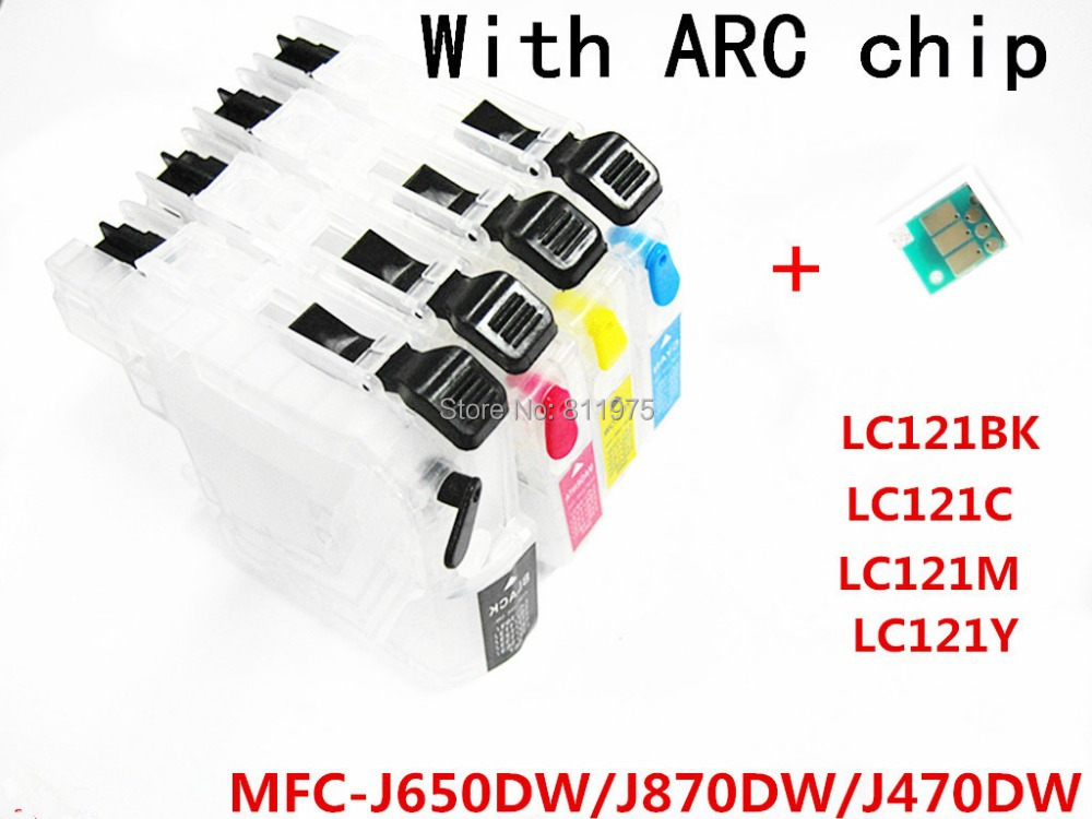 4 color LC121refillable Ink cartridge  Empty for Brother MFC-J650DW/MFC-J870DW/MFC-J470DW printers with permanent chip<br><br>Aliexpress