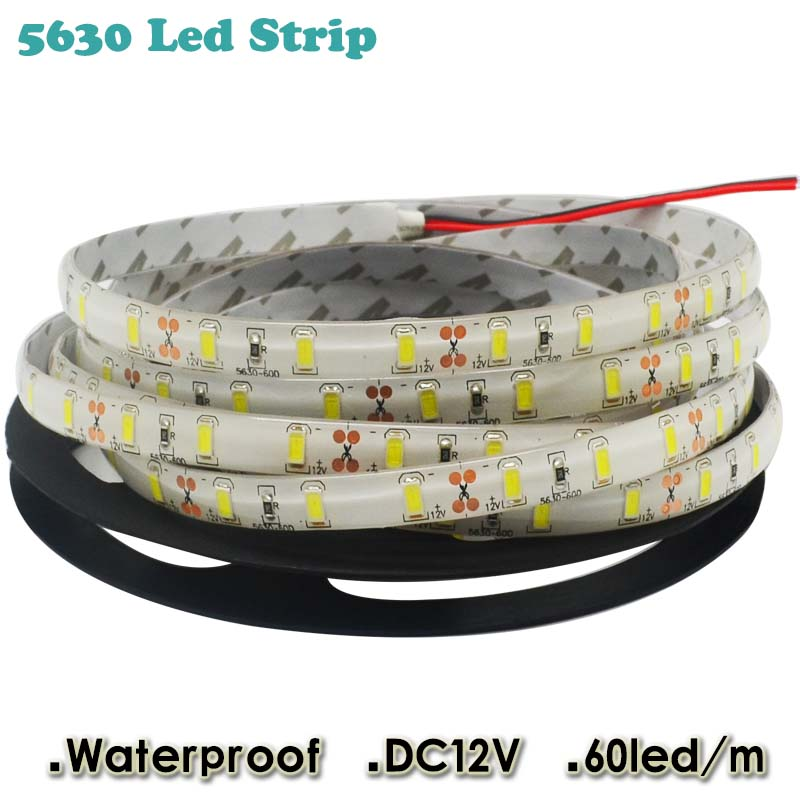5m/lot IP65 waterproof SMD 5630 LED Strip Light led Stripe Flexible Light tape ribbon ,12V,Super Bright<br><br>Aliexpress