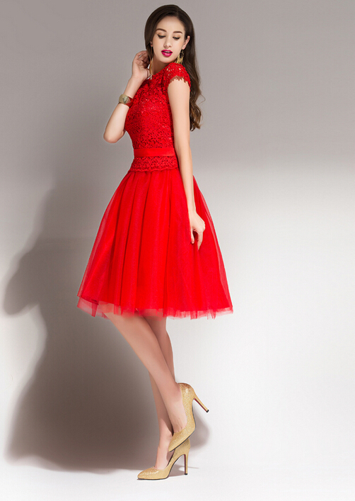 Modest red short bridesmaid dress cap sleeves lace top for Red wedding dresses with sleeves