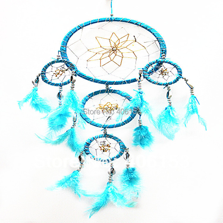 HOT!!! five circle beautiful dream catcher with small shell 3piece/lot ,6 colours mixed ,Free shipping, Diameter :16cm-9cm-6cm(China (Mainland))