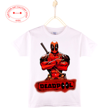 2016 Summer Fashion Children Clothes Deadpool T-Shirt  Kids White Blue Pink Tops Cotton 3D Print Boys Shirt 4T-6T Free Shipping