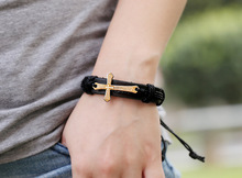 2016 Fashion Leather Bracelets For Man Women Fashion Jewelry Accessories Cross Bracelets Free Size Men s