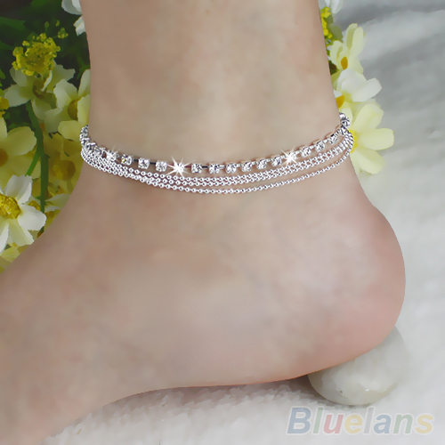 Chic Women's 4 Layers Crystal Beads Sandal Beach Anklet Ankle Chain Foot Jewelry 1MR8(China (Mainland))
