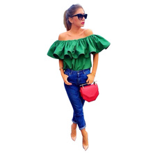 Top Quality Sexy off shoulder women blouse shirt Summer style crop tops slash neck ruffles party tops tees Girls beach tube top(China (Mainland))