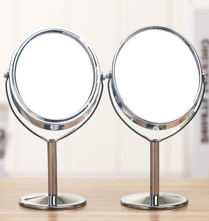 Beauty Table Mirror Metal Stainless steel Double sided Rotary mirror Cosmetic mirrors Desktop Mirror stand OVAL(China (Mainland))