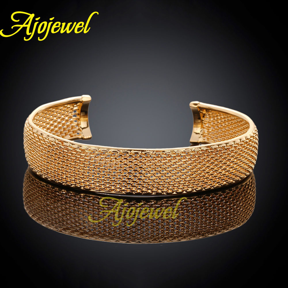 Fashion extra wide bangles mesh copper opened gold plated jewelry for women Ajojewel brand(China (Mainland))