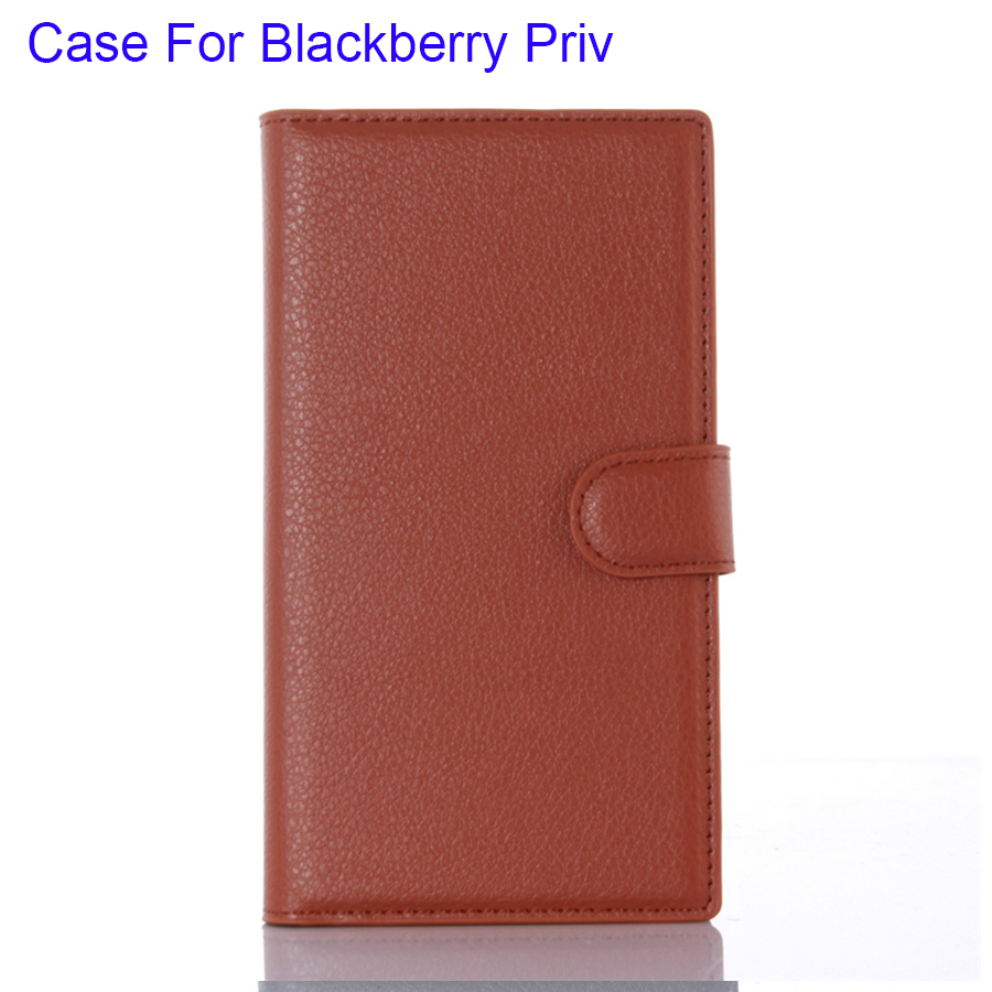 Cover Phone Case For Blackberry Priv PU Leather Litchi Skin Surface Horizontal Stand Soft TPU Cases Business Style(China (Mainland))