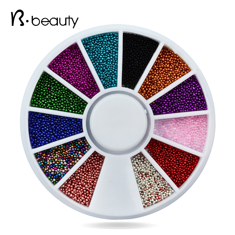 12colors 3d Nail Art Caviar Beads Decoration Wheel Charm DIY Nail Beauty Tools Accessories