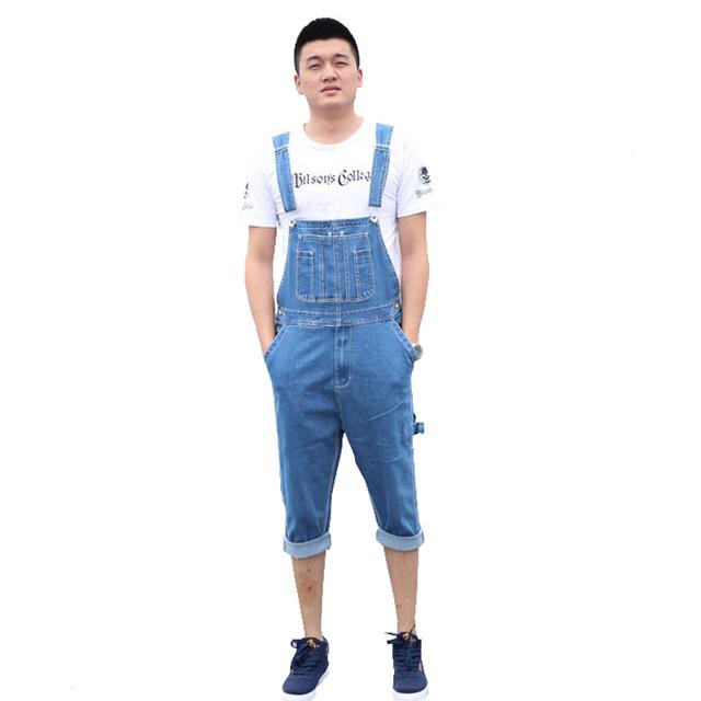 Летние мужские большой размер стрейч джинсовые комбинезоны Случайные колен короткие ...