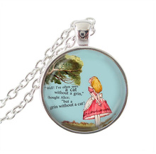 Alice in wonderland necklace with cheshire cat jewelry letter statement necklace silver chain glass dome fairy tale jewelry gift(China (Mainland))