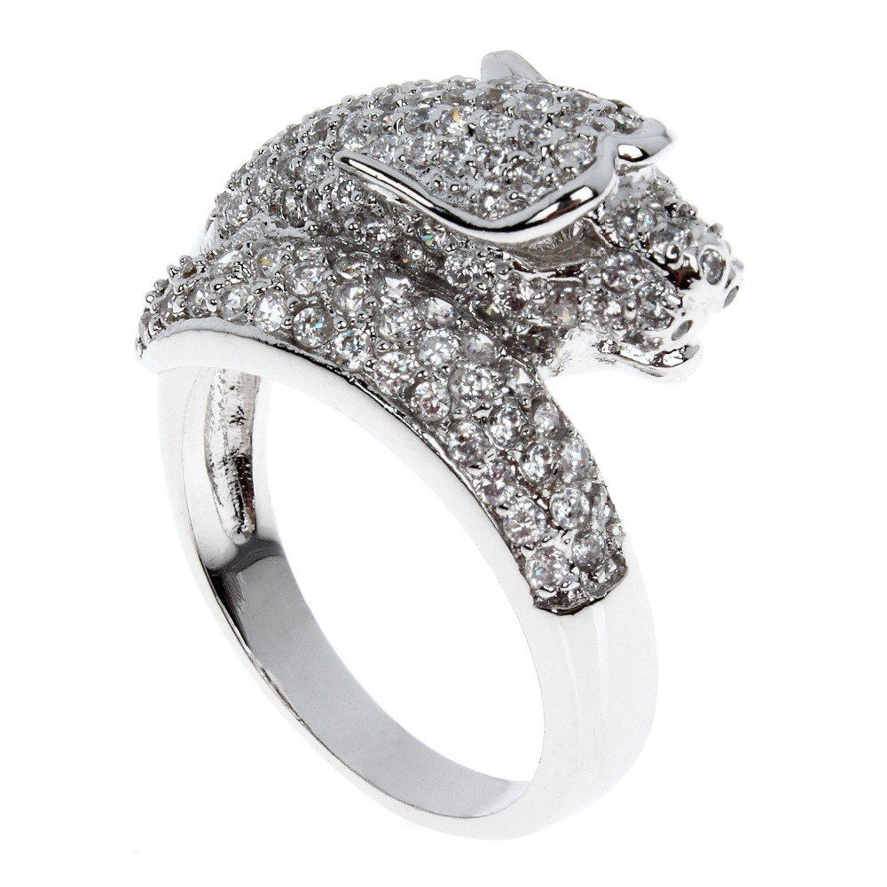 Fashion Secret Wild Leopard Ring For Women Bridal Wedding Rings Lead Free Platinum Plated AAA Quality Cubic Zircon Setting(China (Mainland))