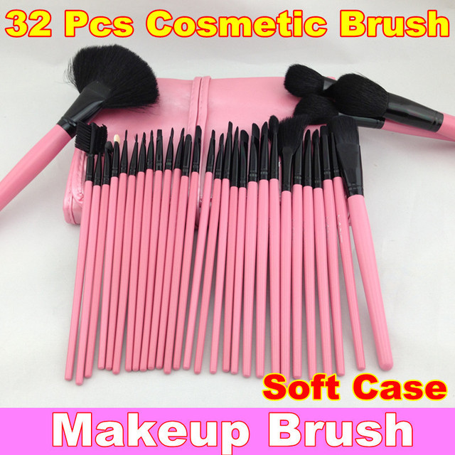 Pro Pink Makeup Cosmetic Brush Kit 32 pcs Set + Soft Case 32 Pcs Makeup Brush Cosmetic Set + Free Shipping