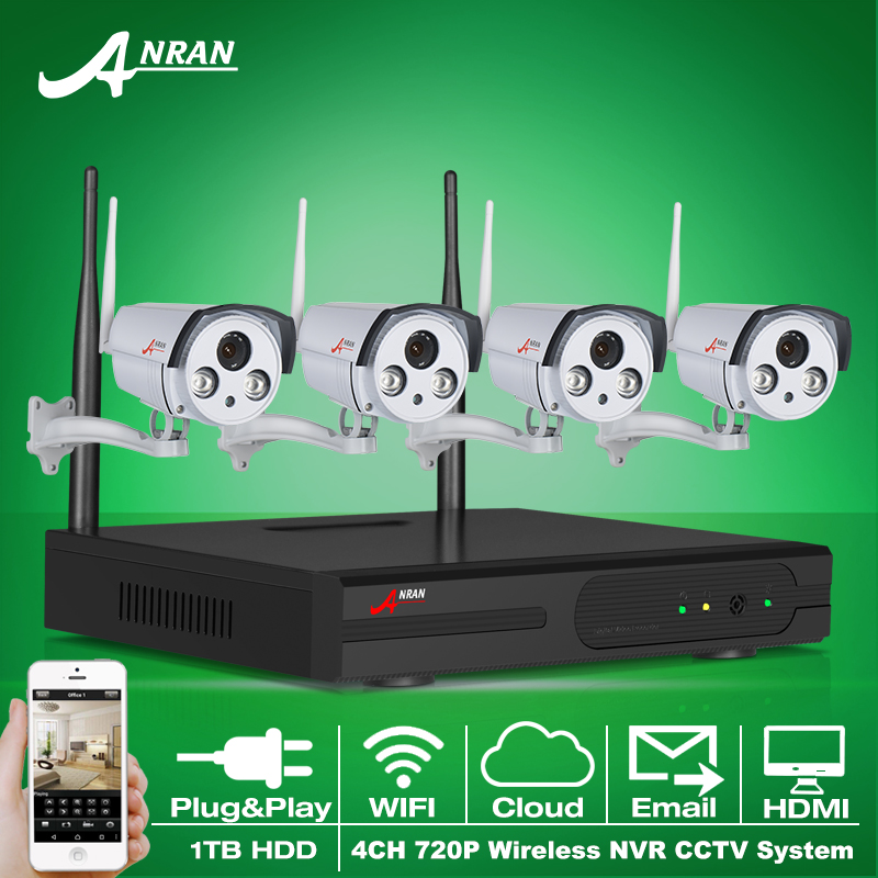 1TB HDD Wireless CCTV System 4CH NVR P2P WIFI IP Camera 720P H.264 HD 2 Array IR Outdoor Home Security Surveillance System(China (Mainland))