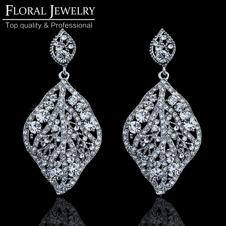 Hot New Arrival Bridal Jewelry Top Crystal Wedding Accessories Gold Plated Big Leaves Earrings for Women Wedding Jewelry EH213<br><br>Aliexpress