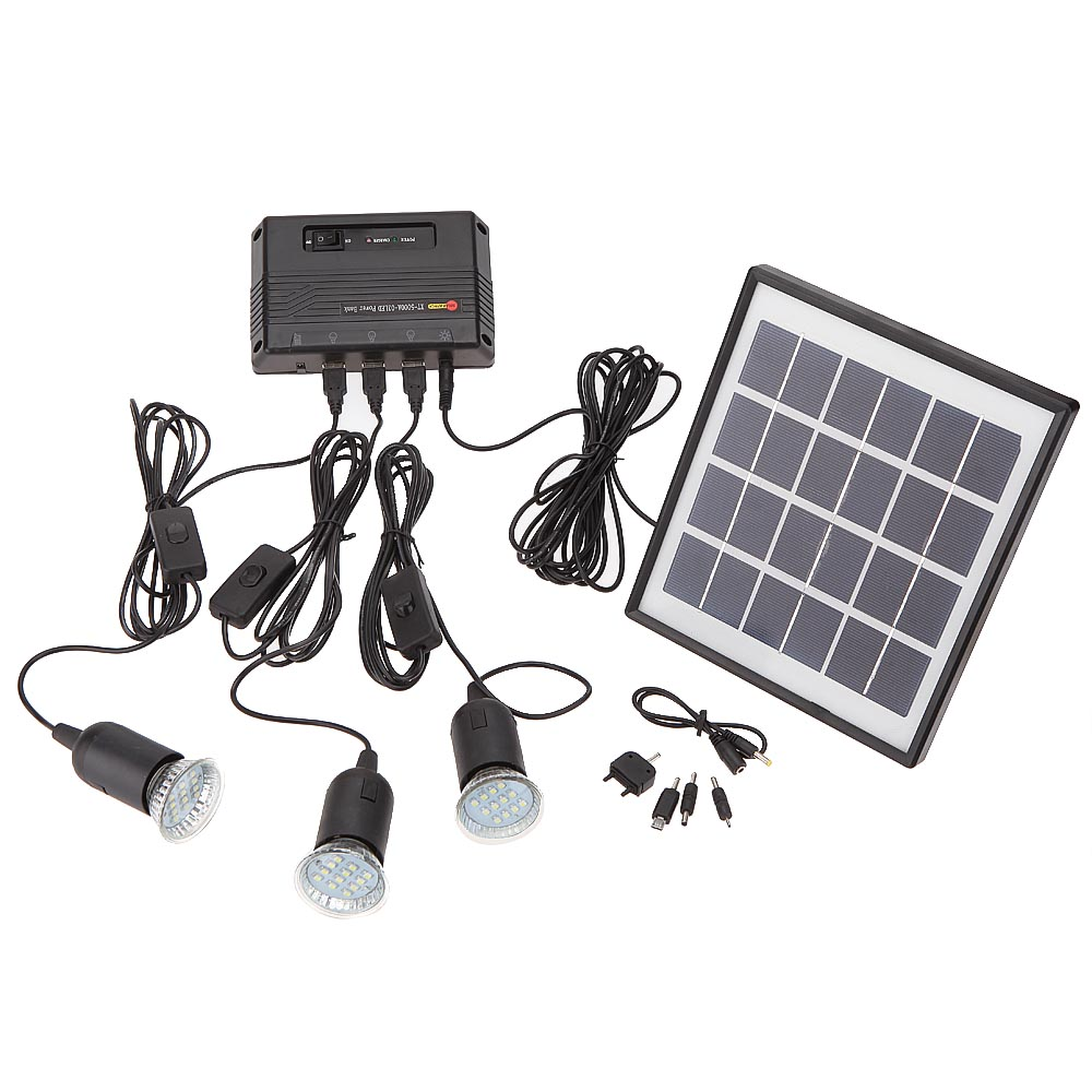 4W Solar Powered Panel 3 LED Light Lamp USB 5V Cell Mobile Phone Charger Home System Kit Garden Pathway Camping Fishing Outdoor(China (Mainland))