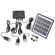 4 W panneau solaire 3 LED lampe USB 5 V portable chargeur de téléphone Mobile système Kit jardin Pathway Camping pêche en plein air(China (Mainland))