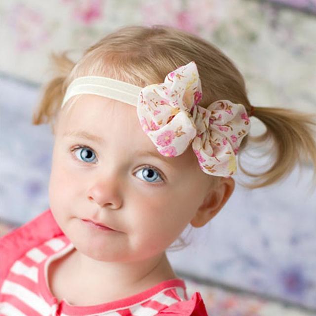1 ШТ. Baby Дети Девочка Дети Кружева Печати Цветочные Hairband Повязка Бантом Цветов ...