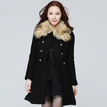 2015Women winter woolen trench coat removable fur collar feminino casual flare top overcoat double breasted outwear plus size4XL