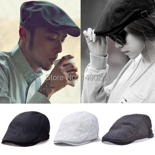 Classic Vintage Men Women Casual Beret Cabbie Newsboy Solid Flat Hat Golf Driver Sun Peaked Bonnet Beret Visors Cap 3 colors(China (Mainland))