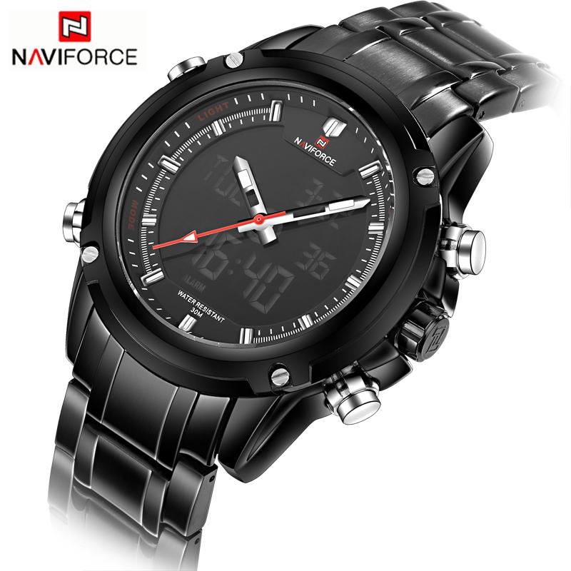 Casual Watches men NAVIFORCE brand Sport Full Steel Digital LED watch reloj hombre Military wristwatch relogio masculino 9050(China (Mainland))