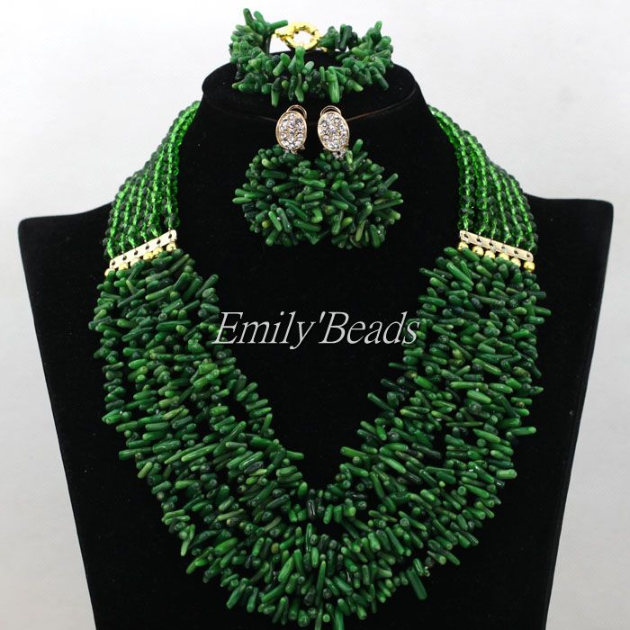 Latest Nigerian Coral Beads Necklace Set For Wedding Green African Costume Jewelry Set Bridal Gift Jewelry Free Shipping CJ527(China (Mainland))