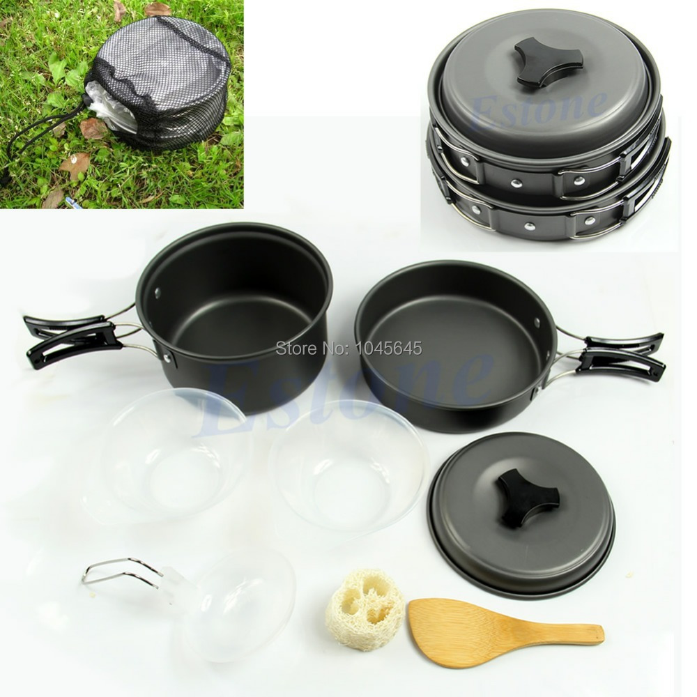 E79 Free Shipping 8pcs Outdoor Camping Hiking Cookware Backpacking Cooking Picnic Bowl Pot Pan Set(China (Mainland))