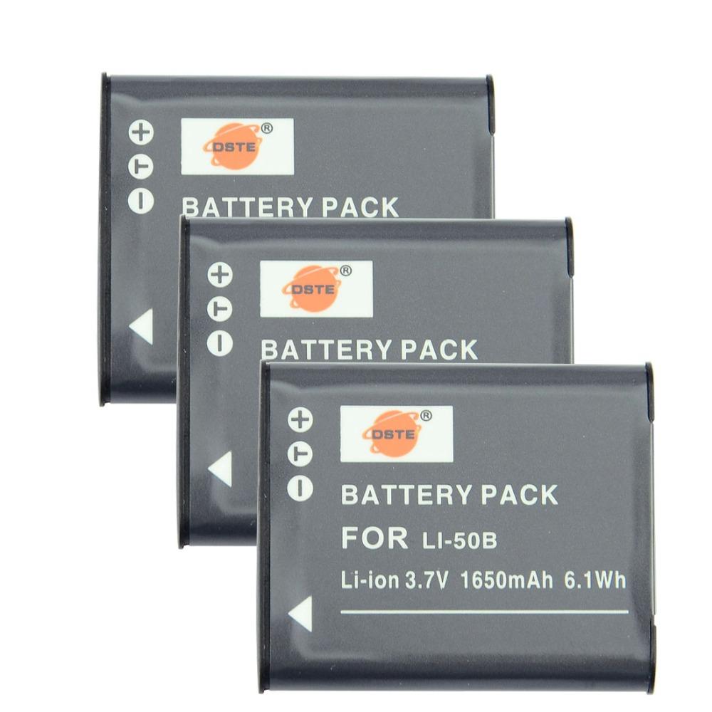 DSTE 3 Pcs 1650 mAh LI-50B Rechargeable Li-ion Battery For Olympus Mju 1020 SP-800UZ Stylus 1010 u 1010 1020 Ricoh CX3 CX4<br><br>Aliexpress