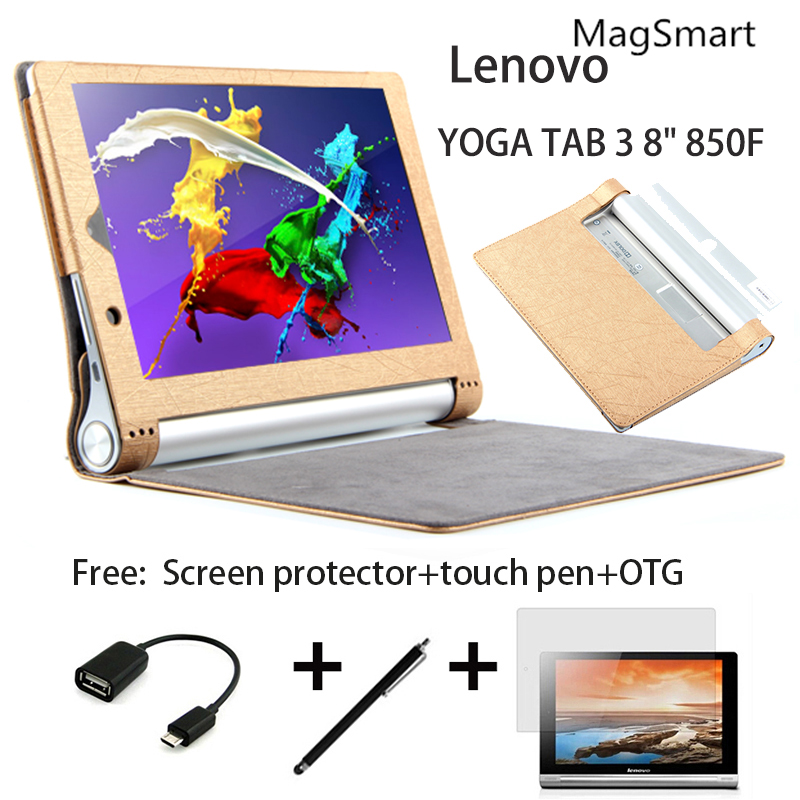 """Luxury Cover for Lenovo YOGA TAB 3 8"""" special tablet cases, highgrade ultra-thin smart dormancy cases +free film+free stylus+otg(China (Mainland))"""