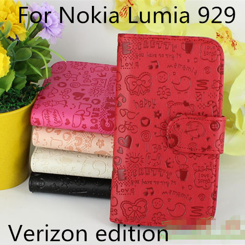 High Quality Luxury Lovely Flip Leather cell phone Cover Case for Nokia Lumia 929 Verizon with Card Holder Stand Design (XMN01)(China (Mainland))