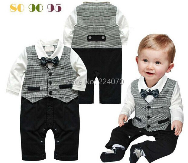 fashion Gentleman style newborn Baby Romper Infant Romper Jumpsuit romper Baby innfant Girl Boy Clothing free shipping(China (Mainland))
