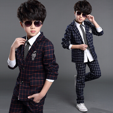 Child Plaid Color Suit 2015 Children's Clothing 2 Piece Set Male Child Blazer Outerwear Set For 6-14Y(China (Mainland))