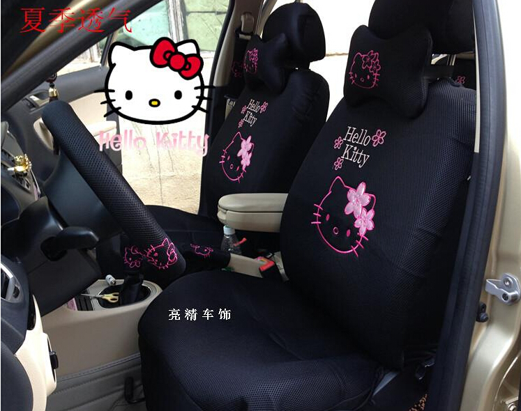 hello kitty car covers 3d breathable mesh car seat covers set 5 seats universal car interior. Black Bedroom Furniture Sets. Home Design Ideas