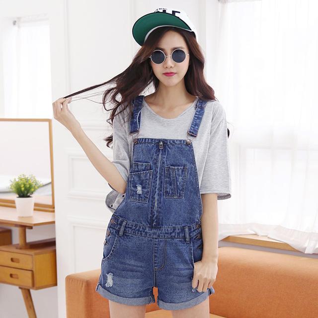 2015 новый женский лето комбинезон джинсовые шорты комбинезон денима комбинезон мода ...
